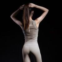 MSGD女子LUXCELL运动健身紧身背心 短款露腰显瘦训练跑步上衣 Freezing Brown *6件