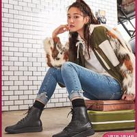 Skechers斯凯奇时尚绑带女士马丁靴潮流个性高帮休闲靴短靴44821
