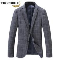 鳄鱼恤(CROCODILE)西服男 2019新款青年商务休闲格子小西装绅士修身单西外套男 D2169807 灰色 175/L