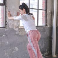 范迪慕 瑜伽服运动套装女夏季新款宽松速干健身服休闲户外运动晨跑步服 FX01-白网衣+粉长裤两件套-M