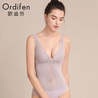 欧迪芬 2019新品女士内衣产后收腹塑身蕾丝背心美体塑形紧身束身衣 XE8102 雾紫灰 XL