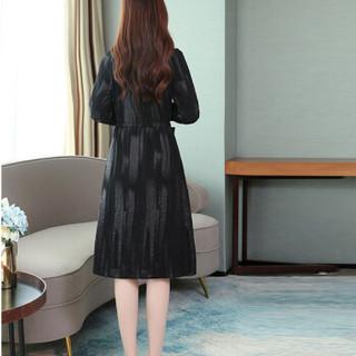 米兰茵(MILANYIN)2019秋季女风衣新款时尚流行中长款韩版宽松显瘦过膝外套大衣 NYml302 黑色 M