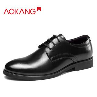 奥康(Aokang)男士商务正装低帮系带皮鞋183210108/193211105黑色40码