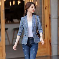 初申 职业装女2019春夏新款中袖小西装时尚格纹修身外套工作服 SWXF193208 蓝色 L