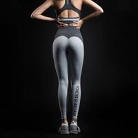 MSGD紧身运动裤 女子蜜桃臀拼色设计健身裤 瑜伽训练裤 升级款高腰款 S (适合90-110斤) *5件
