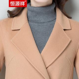 恒源祥酒红毛呢大衣女秋冬无羊绒长款双面呢韩版修身纯色妮子外套 海焦糖 160/84A/M