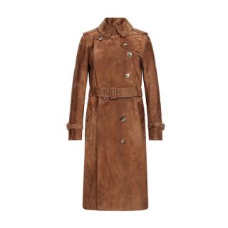 BURBERRY 巴宝莉 女款棕色小牛皮反绒面革Trench风衣 80070971 04码