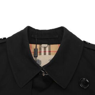 BURBERRY 巴宝莉/博柏利 男款黑色棉质肯辛顿版型Heritage Trench风衣 40734811 48码