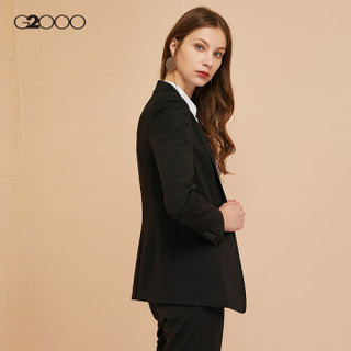 G2000女装商务休闲西服上衣 2019春季新款气质OL通勤修身小西装女00710002 黑色/99 36/165