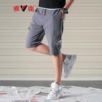 雅鹿 男休闲短裤 2019夏季棉质新款时尚潮流多袋工装五分裤 深灰(19651014) 3XL