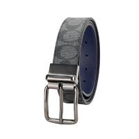 COACH 蔻驰 奢侈品 男士黑灰logo款人造革配皮腰带皮带 F79874 QBPJE