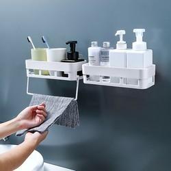 柏康 浴室置物架厕所洗手间洗漱台厨房收纳免打孔壁挂式洗澡墙上卫生间