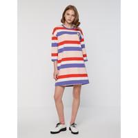 C&A贴布绣条纹圆领半袖针织连衣裙女宽松直筒裙CA200219596