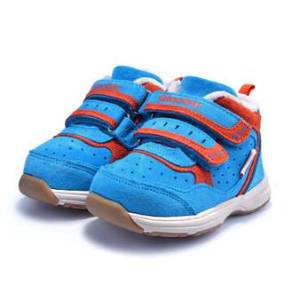基诺浦冬季新款男女儿童学步鞋加厚保暖棉鞋防滑机能鞋TXG343 蓝色 6