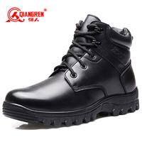 强人保暖棉鞋男 JD6-X7582 际华3515防滑扣男士短靴户外防寒军迷羊毛皮靴 黑色 43码