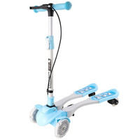 鑫奥林(XINAOLIN)儿童滑板车 一键折叠双手刹四轮全闪蛙式扭扭摇摆车 蓝色