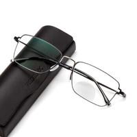 夕阳红智能老花镜男远近两用高档品牌智能高清眼镜AX5328 黑间银 300D