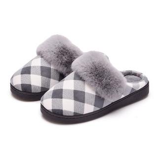 Hommy 经典毛绒系列 轻简防滑长绒保暖棉拖鞋男款 灰色44-45 HM1827