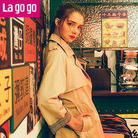 Lagogo拉谷谷 新款翻领港味复古风衣女中长款休闲韩版外套
