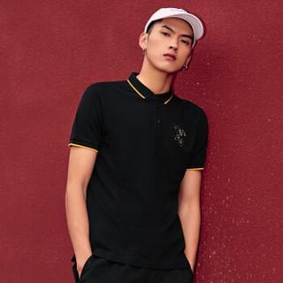卡宾男装时尚动物刺绣中国风青年修身短袖T恤2019国潮polo衫C  煤黑色01  56/190/XXXL