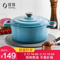 佳佰 珐琅锅铸铁汤锅平底双耳煲汤炖肉22cm(电磁炉煤气灶通用)湖水蓝