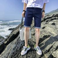 AEMAPE/美国苹果 牛仔短裤男夏季新款透气男休闲短裤薄款 男牛仔裤五分裤 蓝色 28