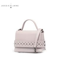 JESSIE&JANE时尚简约圆钉设计牛皮女包手提单肩斜挎包 2370