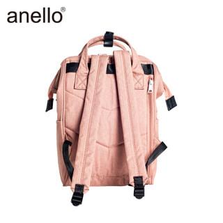 anello 潮流离家出走口金双肩背包男女乐天书包高密度涤纶混色旅行素色麻布双肩包B2264 浅粉色