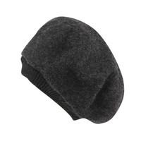 纪维希(Jiweixi) 帽子 女士秋冬季毛线帽保暖贝雷帽 欧美时尚螺纹带复古画家帽 JWX607 麻灰色