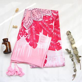 北诺(BETONORAY)丝巾棉麻围巾女夏季防晒披肩两用多功能纱巾海边度假丝巾长款女士沙滩巾 双花粉
