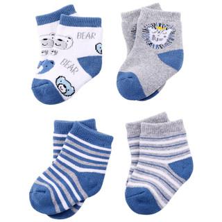 象宝宝(elepbaby)婴儿袜子 秋冬加厚条纹儿童毛圈袜 新生儿宝宝棉袜4双男宝 (1-3岁)