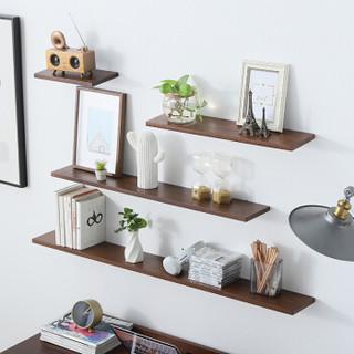 爱必居 实木墙上置物架一字隔板客厅墙壁书架机顶盒收纳架 胡桃色90*15cm