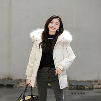 高梵韩版时尚加厚大毛领白鸭绒羽绒服