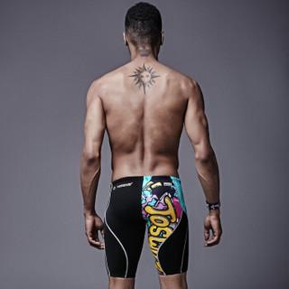 拓胜(TOSWIM)游泳先生同款 泳裤 男 五分及膝游泳裤 专业训练男士泳衣 海洋涂鸦XL