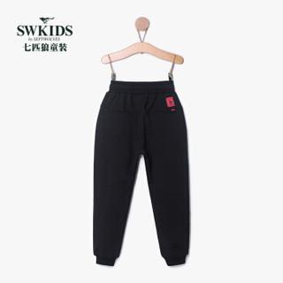 七匹狼童装男童长裤运动休闲裤儿童裤子161980401035  黑色(红头) 130cm
