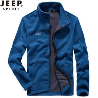 吉普 JEEP 抓绒衣男款户外运动外套摇粒绒冲锋衣内胆加厚保暖防风 SS3008 蓝色 3XL