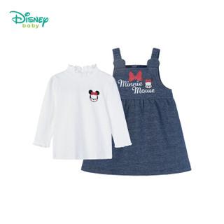 迪士尼(Disney)童装女童套装2019春秋新款米老鼠背带裙套装外出2件套193T937米白3岁/身高100cm