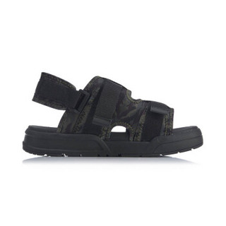李宁 LI-NING Coca男子潮流凉鞋AGUP001-3 标准黑/标准白/兔毛灰-3 39.5