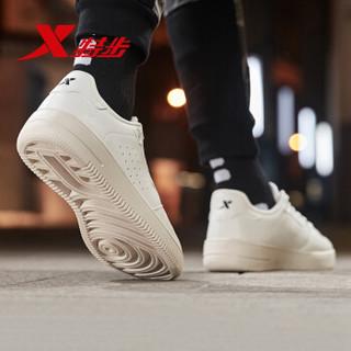 特步板鞋男鞋绿尾时尚休闲运动小白鞋低帮韩版运动鞋881319319206 米 45码