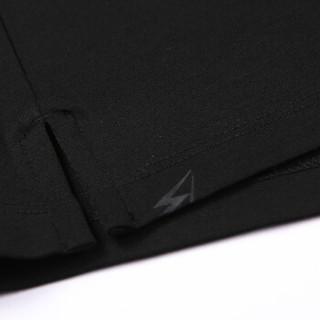Brloote/巴鲁特POLO衫男2019夏季新款时尚休闲字母胶印翻领短袖T恤衫 黑色 175/96A