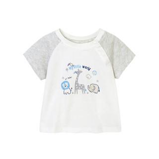 英氏男童T恤 男宝夏季纯棉短袖休闲上衣 184A0142 白色 90CM