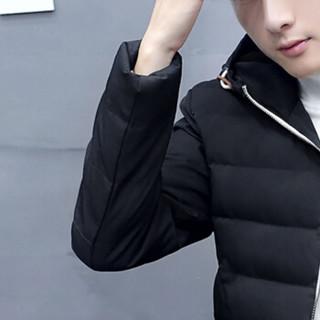 金盾(KIN DON)棉衣 2018秋季新款男士潮流纯色百搭连帽保暖棉衣外套717黑色XL