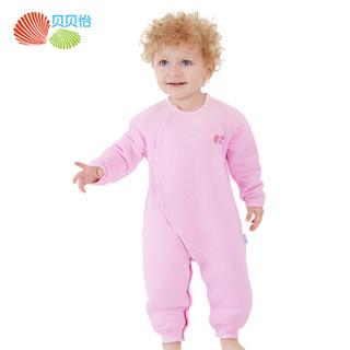 贝贝怡 Bornbay婴儿连体衣宝宝纯棉冬季侧开扣哈衣 淡粉 12个月/身高80cm