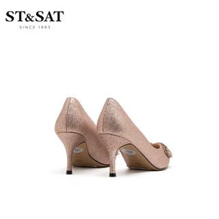 星期六女鞋(ST&SAT)格利特时尚浅口优雅饰扣高跟单鞋 香槟色 35