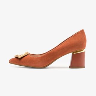 莱尔斯丹 时尚通勤尖头套脚浅口高跟搭扣女单鞋LS AT56344 橙色ORS 39