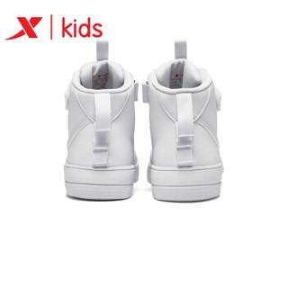 特步童鞋儿童板鞋高帮皮革面2019冬新款男童女童鞋百搭运动鞋  681416319525 白色-高帮 35