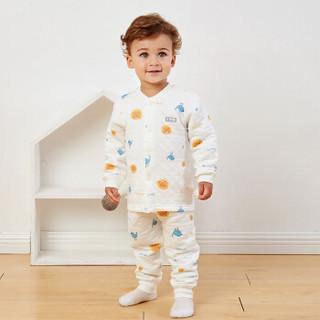 童泰婴儿保暖套装男女宝宝加厚立领内衣套装 TS93J333 蓝小鸟 100