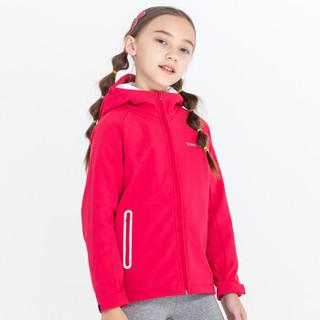 探路者儿童外套 19秋冬童装通款防风保暖棱镜软壳外套QAEH95127 胭脂红 160