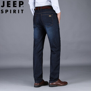 吉普 JEEP 牛仔裤男新品直筒长裤商务休闲弹力宽松男士裤子  PA3657 黑色 32