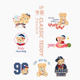 精典泰迪 Classic Teddy 童装儿童长袖T恤男女童打底衫宝宝衣服婴儿上衣T恤N 棒球帽子熊-深蓝 120